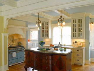 An old buffet made into a kitchen island by Nob Hill Residence - farmhouse - kitchen - seattle - by ROM architecture studio