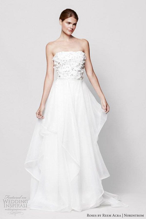 Fancy reem acra roses wedding dress nordstrom marigold strapless gown