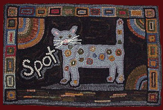 free+rug+hooking+patterns | Spot the Cat rug hooking patten from Folk 'n' Fiber