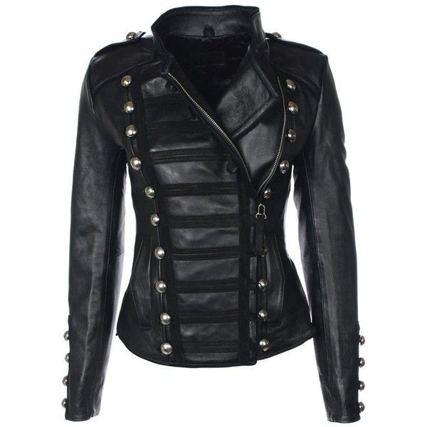 Biker Military Faux Leather Jacket for Womens ($77) ❤ liked on Polyvore featuring outerwear, jackets, biker style jacket, faux leather jacket, leather look jackets, fashion military jacket and vegan jackets