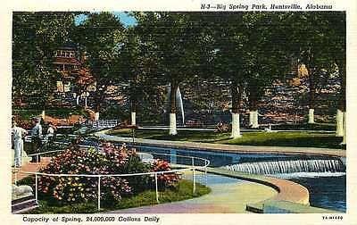 Huntsville Alabama AL 1937 Big Spring Park Antique Vintage Linen Postcard