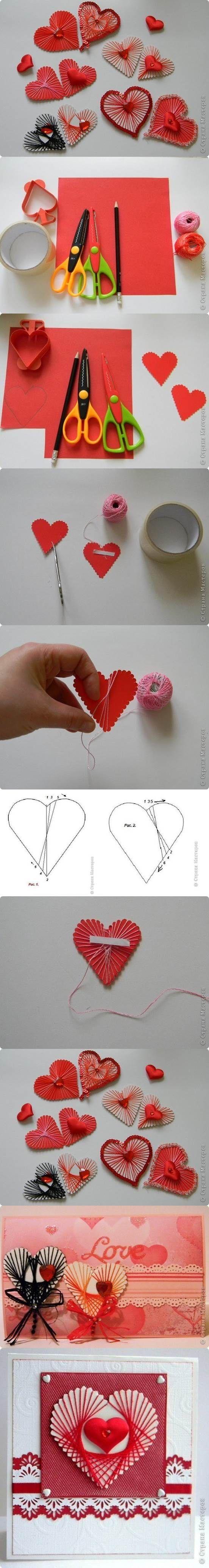 DIY Unique Yarn Heart Decoration | iCreativeIdeas.com Like Us on Facebook ==> https://www.facebook.com/icreativeideas