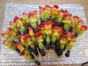 Rainbows and Unicorns Birthday Party - rainbow fruit kabobs