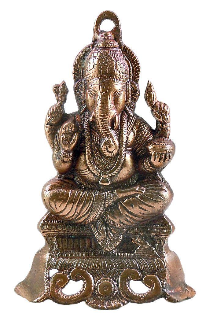 Ganesha on Throne - Wall Hanging-Cum-Stand (Black Metal)