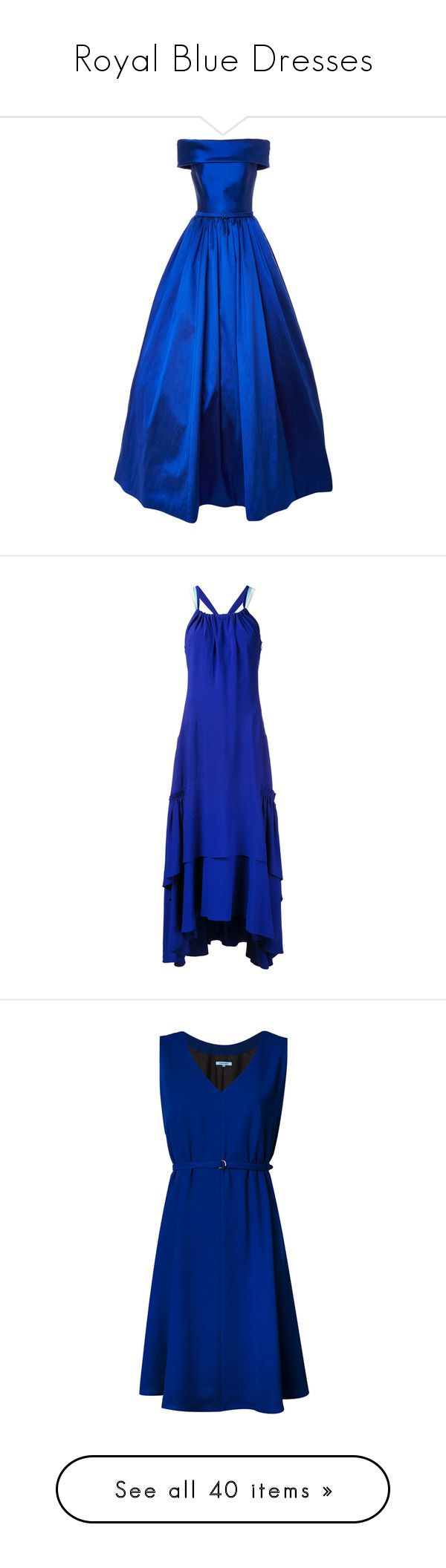 """Royal Blue Dresses"" by tegan-b-riley on Polyvore featuring dresses, gowns, long dresses, vestidos, royal blue long dress, royal blue dress, blue evening dresses, royal blue evening gown, halter top maxi dress and hi low dress"