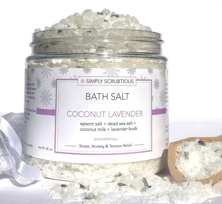 COCONUT LAVENDER Bath Salt-Lavender Bath Salt-Bath Salt-Aromatherapy Bath Soak-Coconut Bath Salt-Detox Bath Salt- 16 oz. by SimplyScrubtiousShop on Etsy https://www.etsy.com/listing/490310871/coconut-lavender-bath-salt-lavender-bath