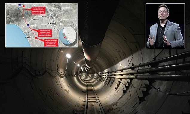 Elon Musk shares new photo of the Boring Company's tunnel under LA #DailyMail