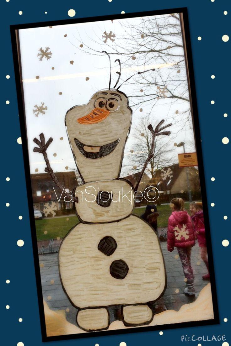 Olaf window painting @ school! ~ made by VanSjoukje© ~ Frozen ~ raamschildering