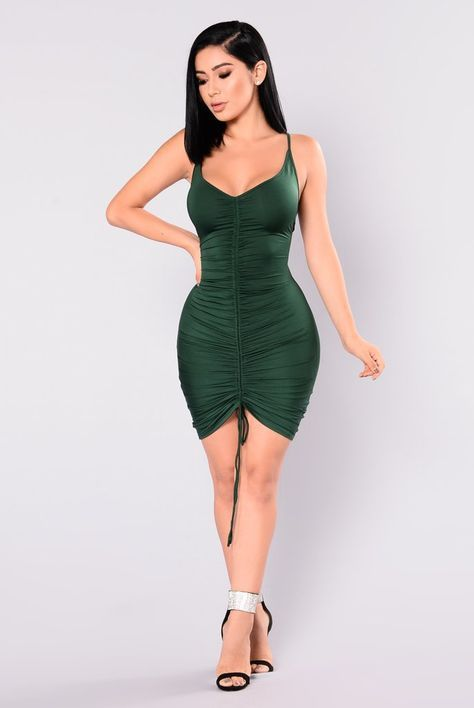 Shanghai Ruched Dress - Hunter Green