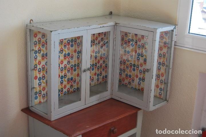 VITRINA ESQUINERA - EXPOSITOR COMERCIO - AÑOS 20-30 (Antigüedades - Muebles Antiguos - Vitrinas Antiguos)