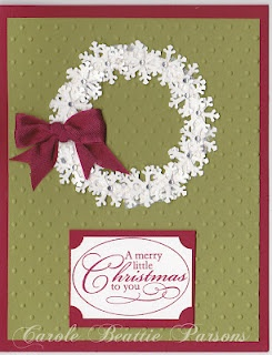 by Carole Parsons: Perfect Polka Dots emb. folder, Christmas Punch stamp
