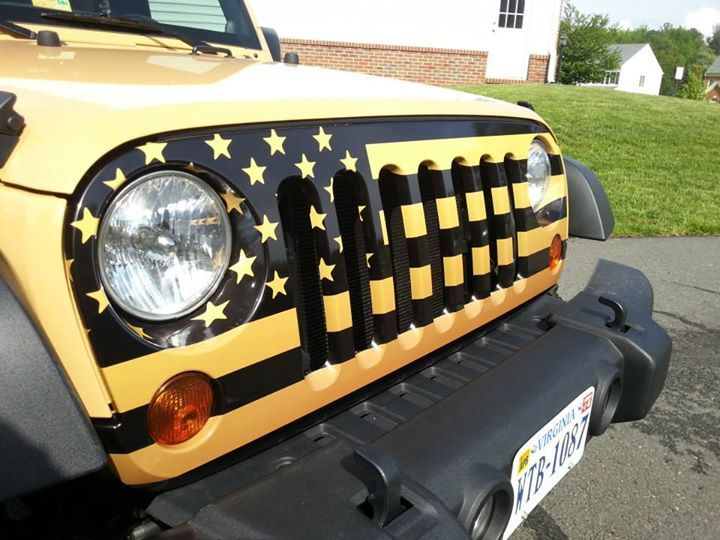 American Flag Wrap for Jeep Grille  http://itchypigcreations.com/collections/761967-custom-jeep-jk-grill-wraps-installed-195-00