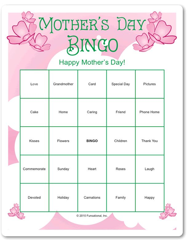 mother 39 s day bingo mother 39 s day games mother 39 s day. Black Bedroom Furniture Sets. Home Design Ideas
