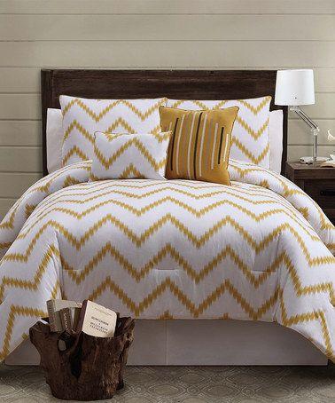 Look at this #zulilyfind! Gold Zigfield Comforter Set #zulilyfinds