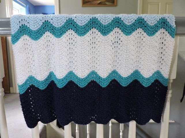Hand Knitted Blue Ripple Baby Blanket £10.00