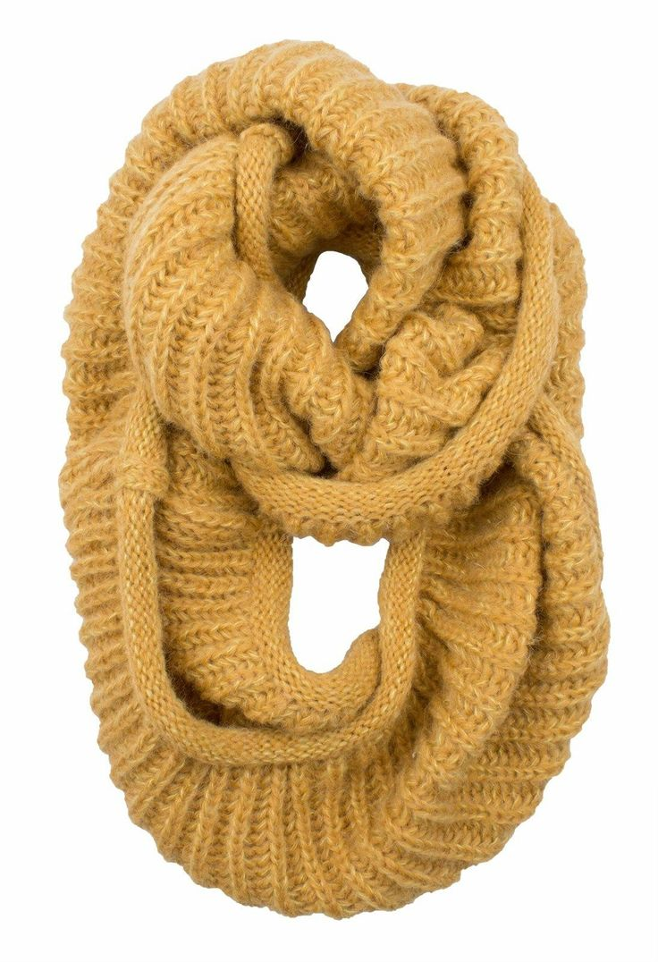 AnnaKastle Double Wrap Circle Ring Marled Chunky Knit Infinity Scarves in Mustard+PastelYellow