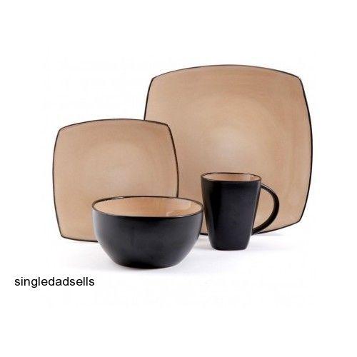 Contemporary Dinnerware Set 16 Piece Square Plates Bowls Mugs Glaze Stoneware #contemporarydinnerwareset