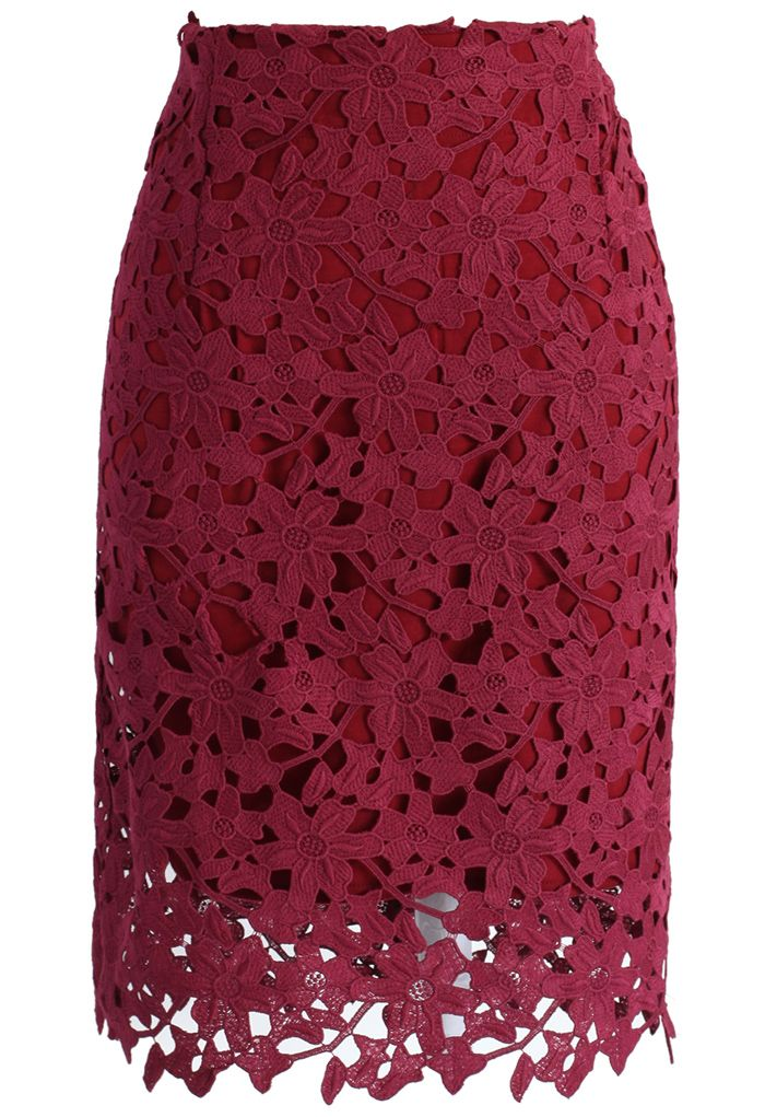 Full Flower Crochet Pencil Skirt in Wine