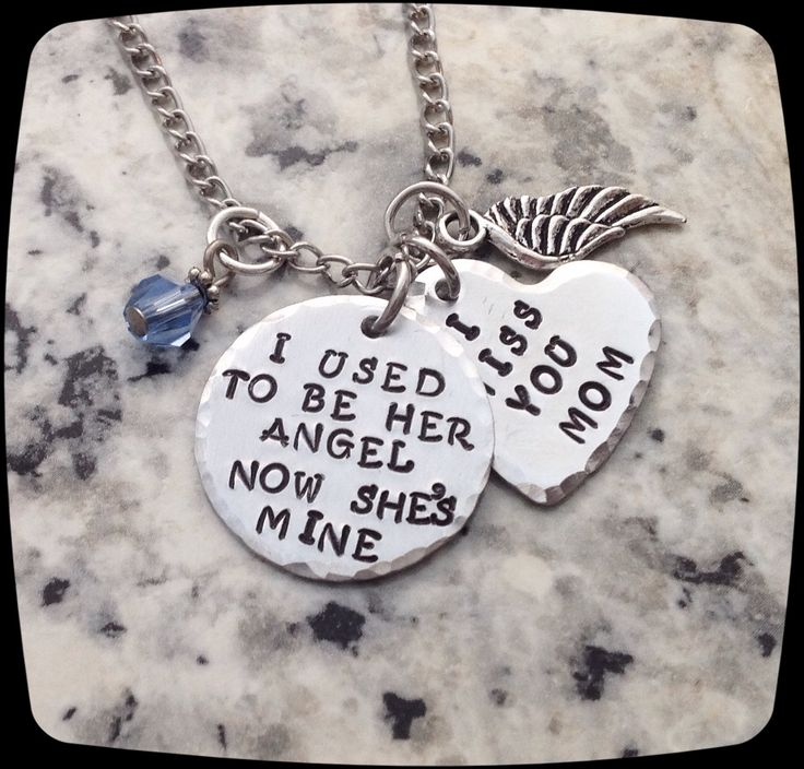 Memorial Jewelry, I used to be her angel now she's mine, Remembrance Necklace, Loss of Mom, Loss of Grandma Funeral Gift by ThatKindaGirl on Etsy