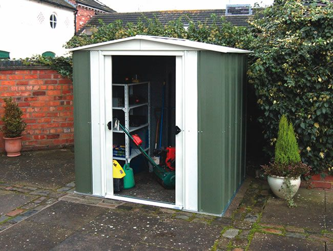 This Rowlinson Metal Shed Features An Apex Roof And Useful Sliding Doors.
