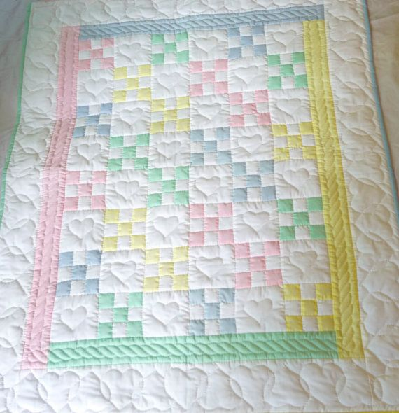 Amish Baby Quilt Traditional Nine Patch by QuiltsByAmishSpirit