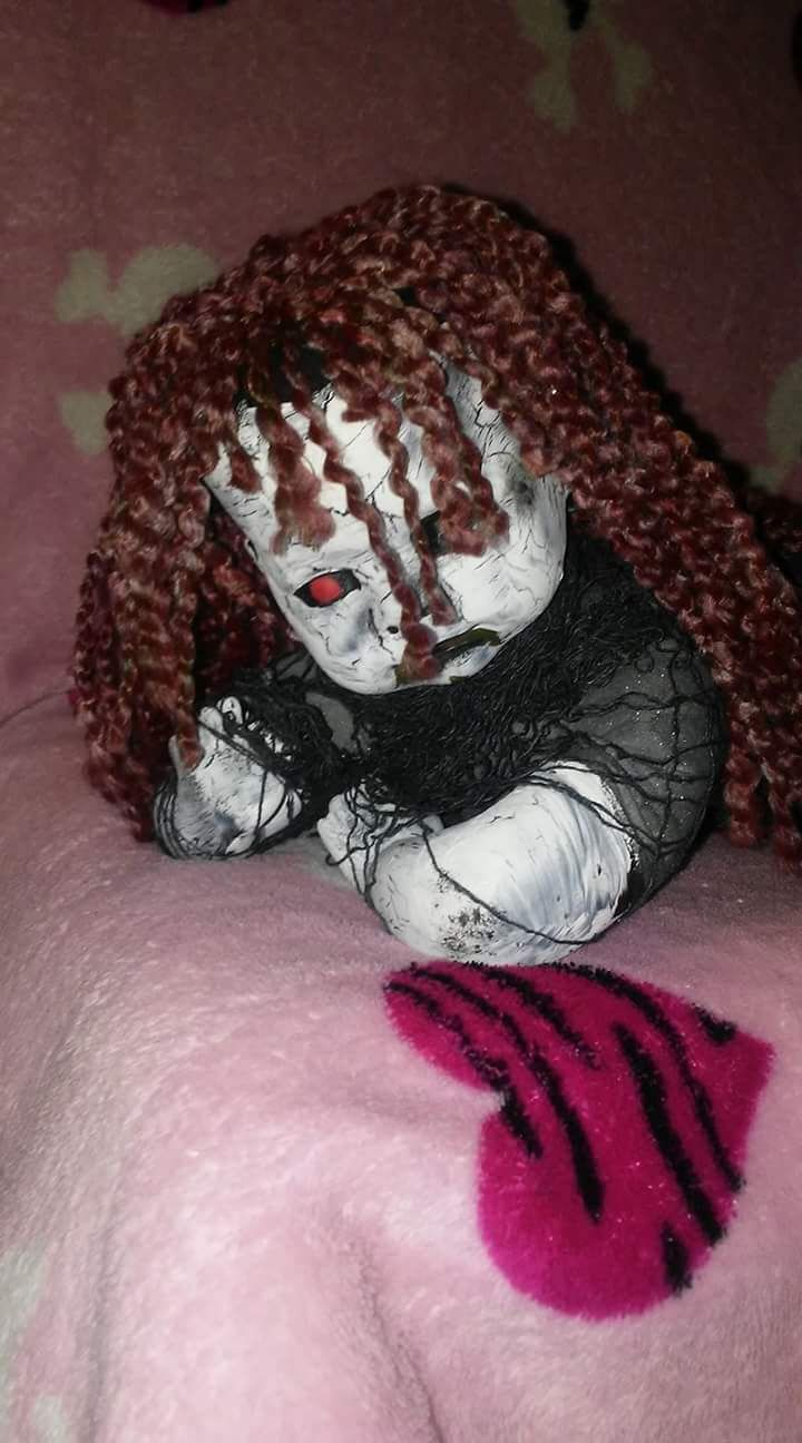 Lil cindy up cycled horror goth horror creepy baby ooak doll by LillithsLilLoves on Etsy https://www.etsy.com/listing/502972622/lil-cindy-up-cycled-horror-goth-horror