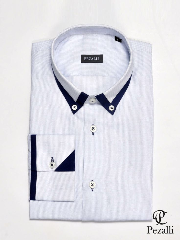 100% Egyptian cotton in white and blue design fabric. Designer button down collar and cuff with contrast button stitching.