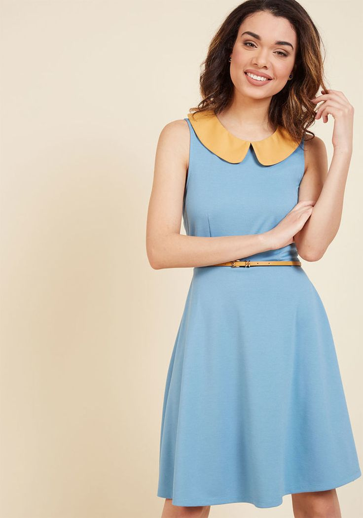 Work to Play A-Line Dress in Sky   ModCloth