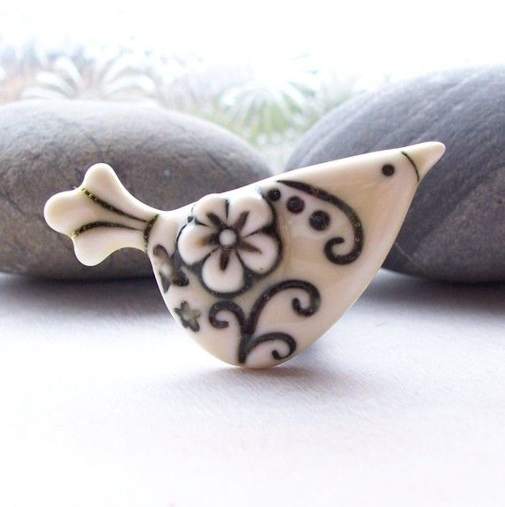 Brooch Porcelain Flower Design Bird Glazed by RuthRobinsonCeramics