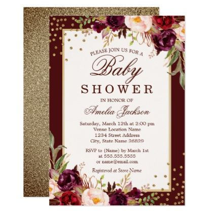 Burgundy floral Sparkle Baby Shower Invitation - baby gifts child new born gift idea diy cyo special unique design