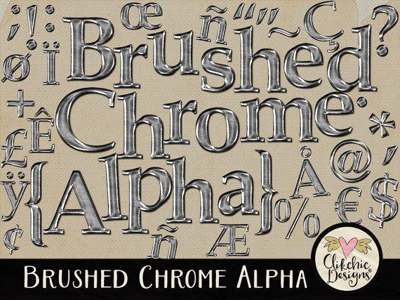 Chrome Metal Digital Alpha - Digital Scrapbook Alpha Clip art - Brushed Metal Alphabet by ClikchicDesign #photoshop #graphic #design by Clikchic Designs