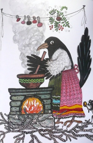 "LOL!! Love the Apron with the Tail sticking out: Crow is making Dinner and looks like she's gathered Mushrooms and some Herbs...YUM!!! ""Crow Cooking"" by Yuri Vasnetsov"