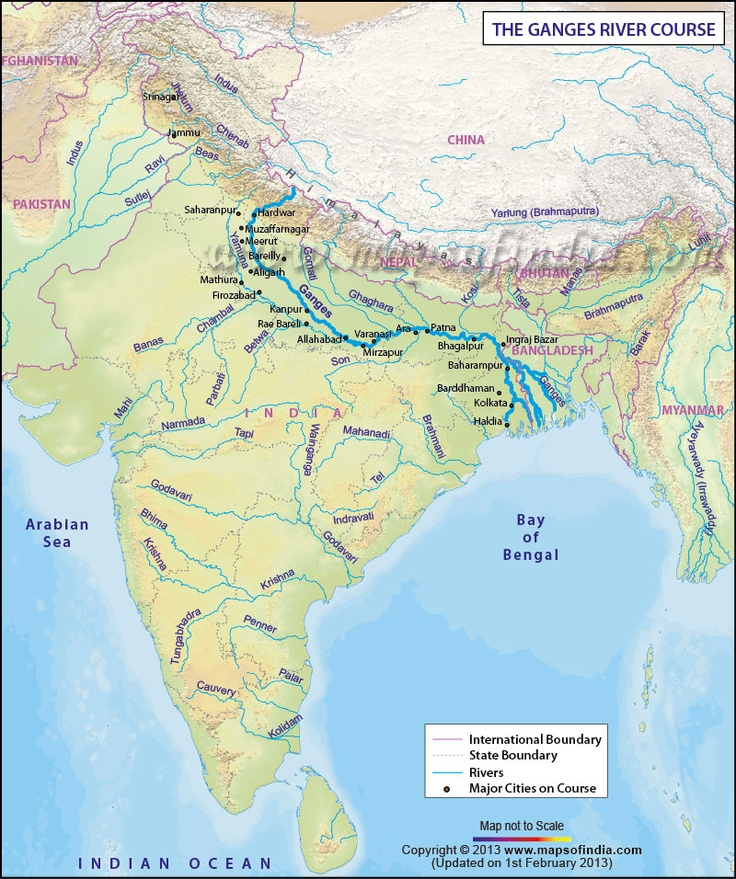 Route map of Ganges River, an important and sacred river in Classic India.
