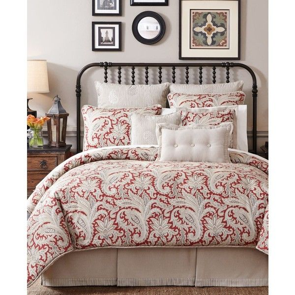 Croscill Leela Queen Comforter Set ($130) ❤ liked on Polyvore featuring home, bed & bath, bedding, comforters, red comforter set, red bedding, paisley comforter, queen bedding and croscill comforters