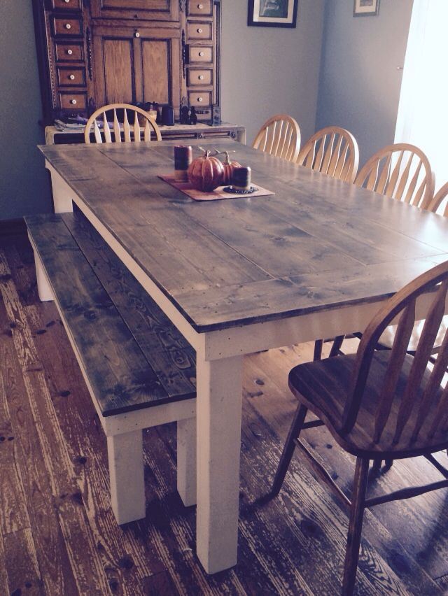 8 ft Two Tone Farmhouse Table and Bench  Wildwood Circleville, Oh 740-420-7674