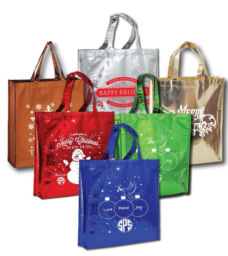 Wrap up the holidays with these wonderful custom printed Metallic Tote Bags! Min. Qty. 100. Metallic Tote Bags available in 6 fun metallic colors. Stand out in a crowd with these shiny totes with large imprint area to display your brand or message. Great for events, advertising, brand marketing, gifts, promos, trade shows, giveaways, shopping, markets, book stores and so much more. Reusable and recyclable