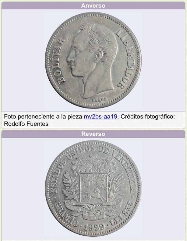 """Moneda de 2 Bolívares (Plata). Fecha: 1929 General: Forma circular, canto estríado contínuo. Anverso: Ribete circular, gráfila dentada. En el centro, sobre el campo, efigie de Simón Bolívar mirando a la izquierda (desde la perspectiva del observador), con """"BARRE"""" (nombre del grabador original) en su base, circulada con """"Bolívar"""" a la izquierda y """"LIBERTADOR"""" a la derecha. Reverso: Ribete circular, gráfila dentada. En el centro, sobre el campo, Escudo Nacional con un caballo galopando hacia…"""