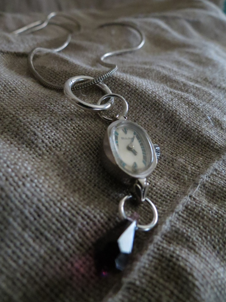 Vintage watch face with sterling silver and crystal
