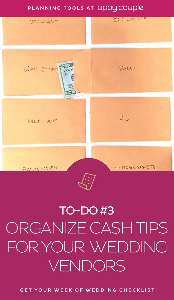 Don't forget to tip your vendors...and other important to-dos the week-of-your-wedding. Read the essential list here.