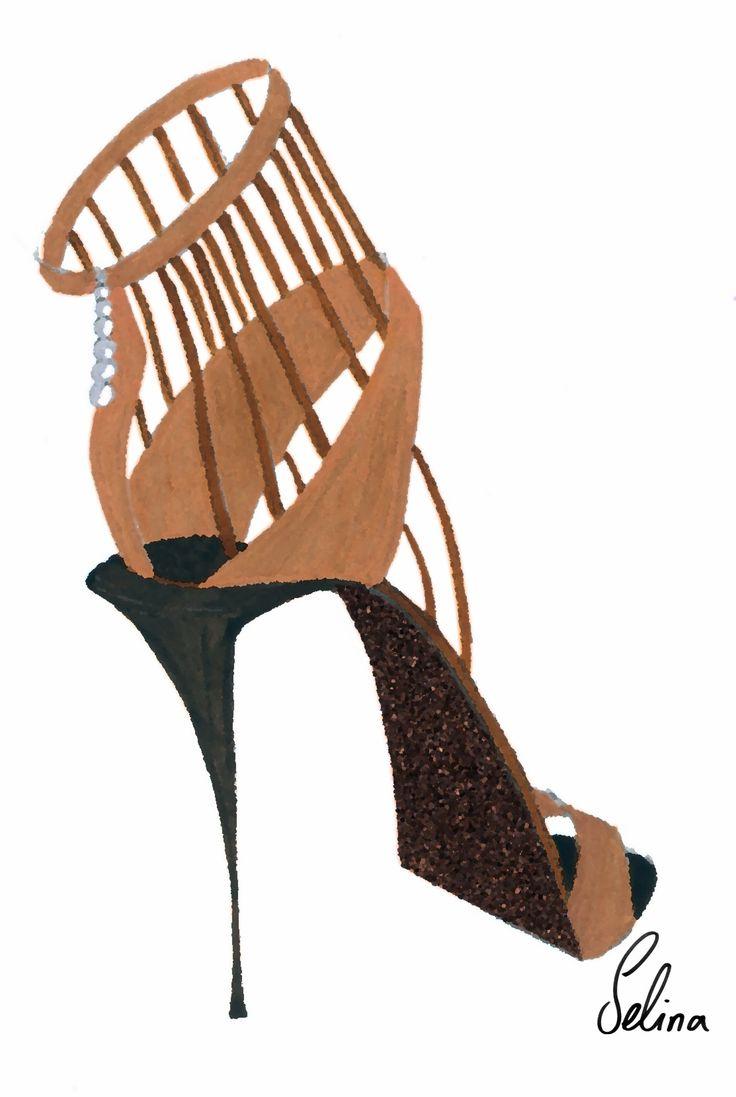 metallic glitter high heel shoe sketch selina strunck shoesketch