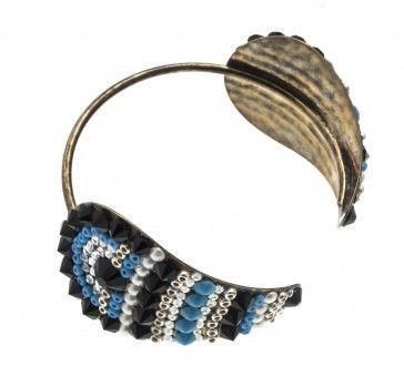 Handmade bronze metal plated bracelet with blue beads and Swarovski strasses, by Art Wear Dimitriadis