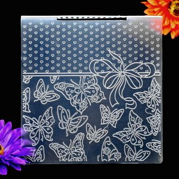 Heart Ribbon Butterfly Plastic Embossing Folder For Scrapbook DIY Album Card Tool Plastic Template 15.3x15.3cm KW672238