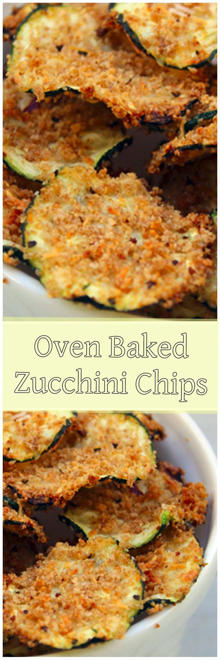 Oven Baked Zucchini Chips - great for low-calorie snacking!  #healthysnacks #lowcaloriesnacks #zucchinichips