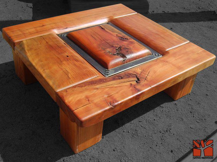 """Nativo Red Wood. Mesa de centro linea """"Line Wood"""" con cubierta de madera de Roble Rústico de 3'' de espesor con flejes de fierro forjado y detalles de clavos de cobre. Dimensiones: 1.20x1.40 www.facebook.com/nativoredwoodsa"""