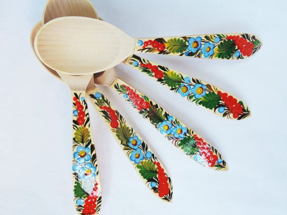 Wooden painted spoon   Wooden stew spoon  Decorative soup