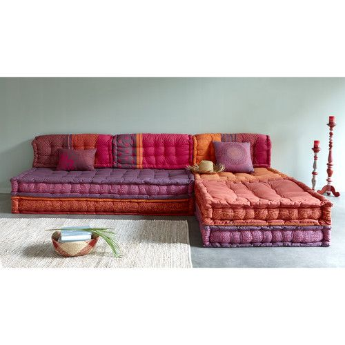 6 seater cotton modular corner day bed, multicoloured