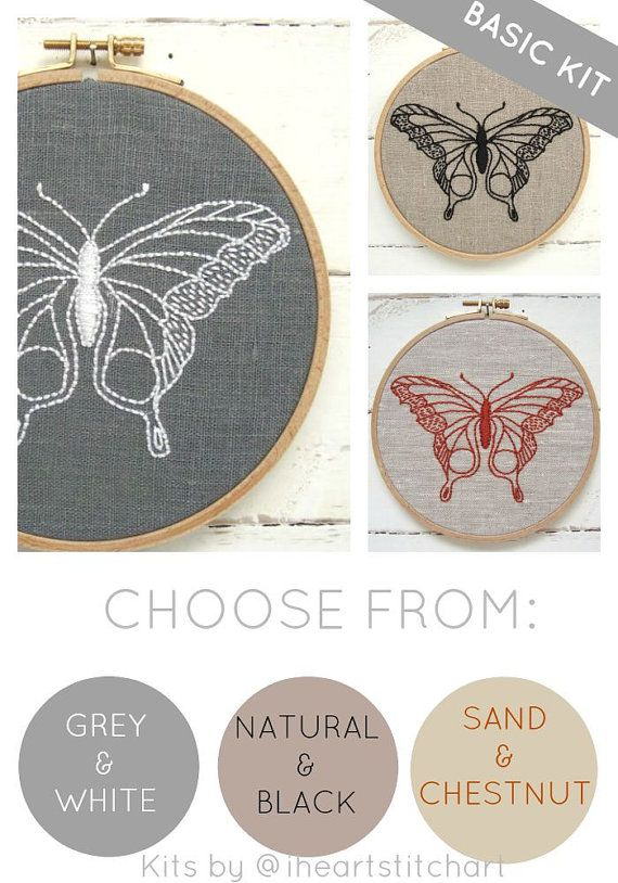 Butterfly embroidery kit DIY needlecraft modern by iHeartStitchArt