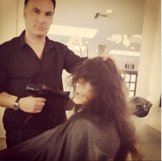 Natasha Slayton getting a hair makeover from Jonathan Antin