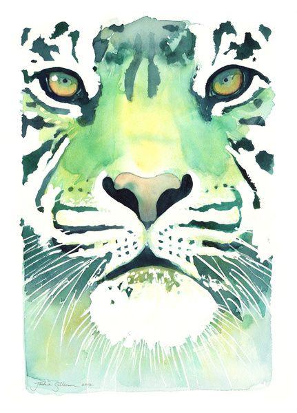 Green Tiger Art Print by Jackie Sullivan   Society6