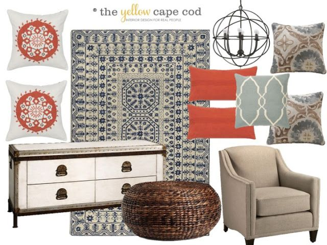 The Yellow Cape Cod: Before and After ~ E-Design Living Room Makeover Reveal